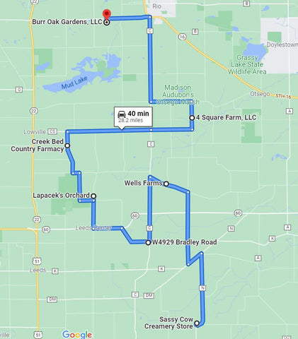 Map of Fall Farm Hop Farms - Madison, Wi Local Beef