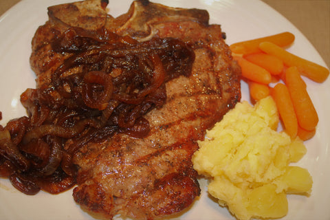 Wells Farms Premium Beef T-Bone Steaks with The Oilerie 25 Year Balsamic Caramelized Onions