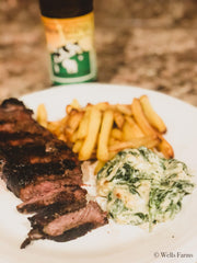 Creamed Spinach with Wells Farms NY Strip Steak - Locally raised beef near Madison, WI