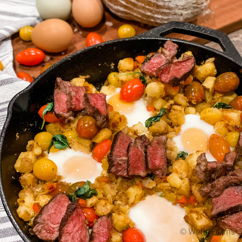 Steak and Egg Hash - Wells Farms Sirloin Steak - Local beef near Madison, WI - Local beef near me - Where to buy local steaks