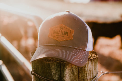 Wells Farms Leather Patch Trucker Hat