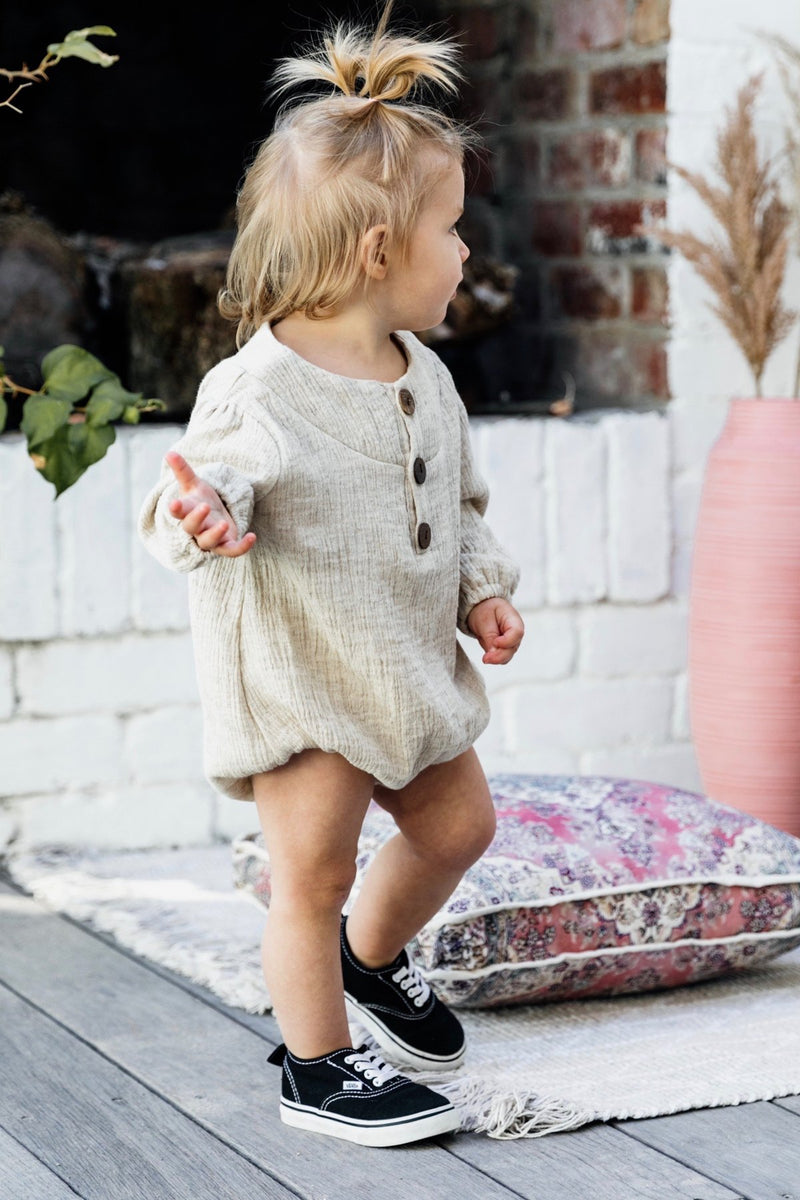 Olas Supply Co: Long Sleeve Romper Oat