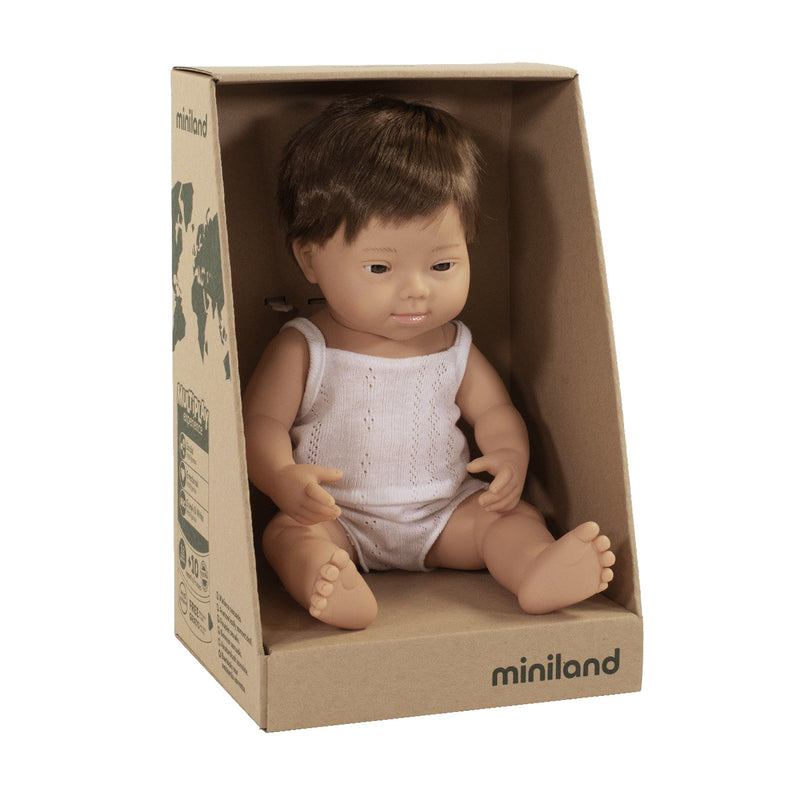 Miniland: 38cm Baby Doll (Caucasian Down Syndrome)
