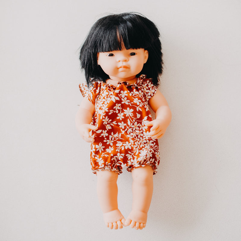 Miniland Doll Clothing: 38cm Rust Floral Romper