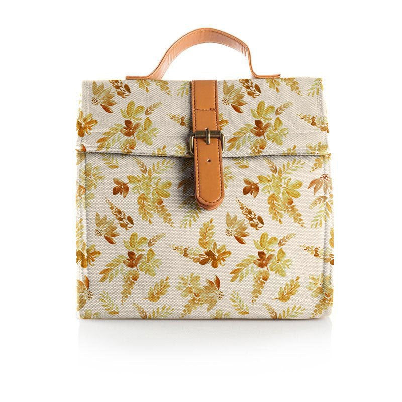 Somewhere Co: Lunch Satchel Mustard Floral
