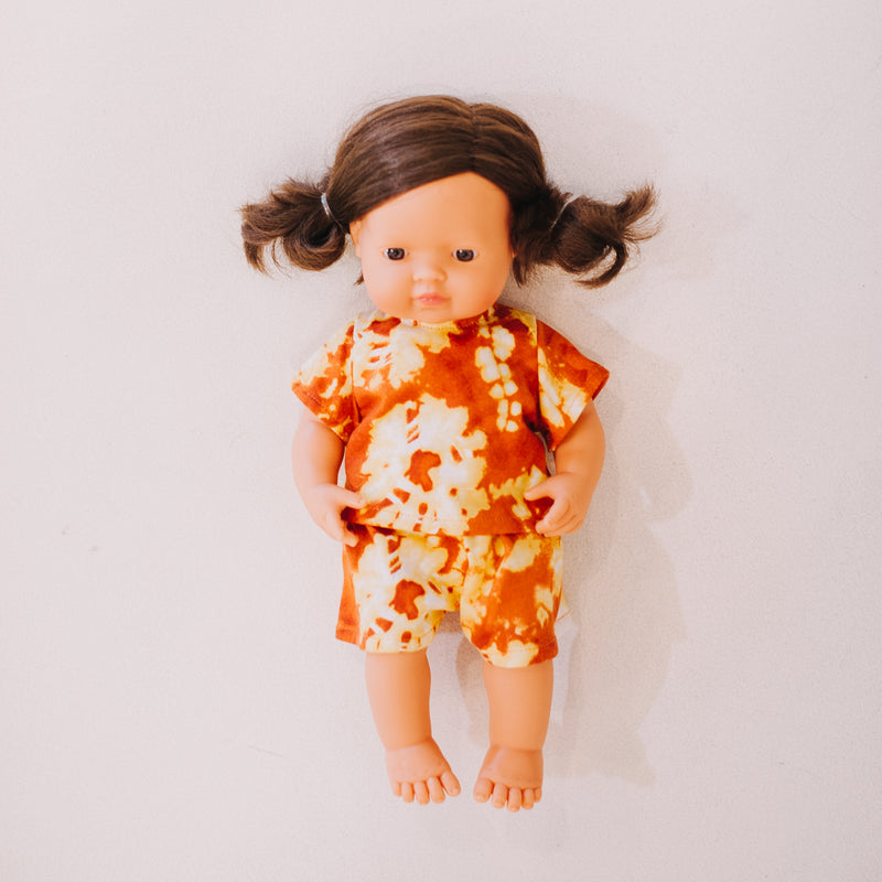 Miniland Doll Clothing: 38cm Orange/White Tie Dye Set