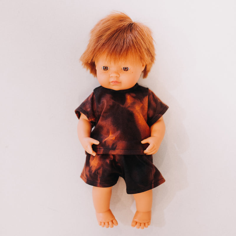 Miniland Doll Clothing: 38cm Orange/Black Tie Dye Set