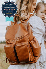 Oi Oi: Nappy Bag Backpack Faux Leather Tan