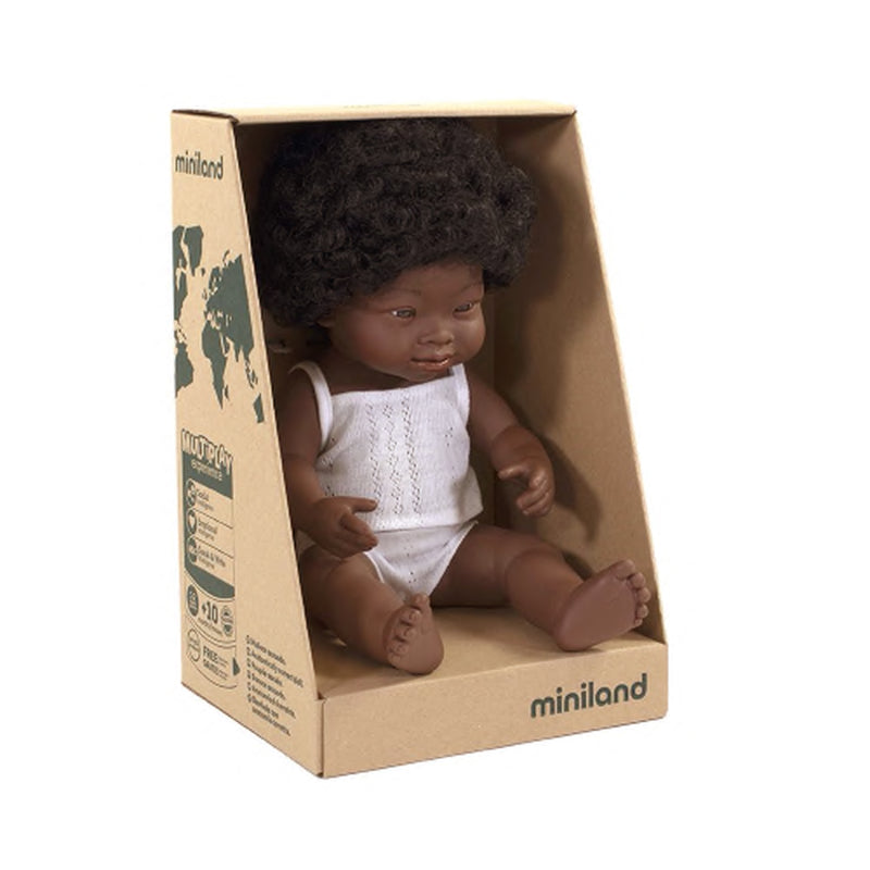 Miniland: 38cm Baby Doll (African Down Syndrome)