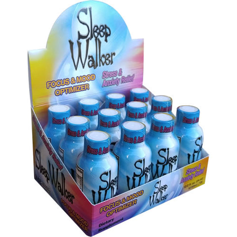12 Bottles 2oz Sleep Walker Shot Focus & Mood Optimizer Full Box