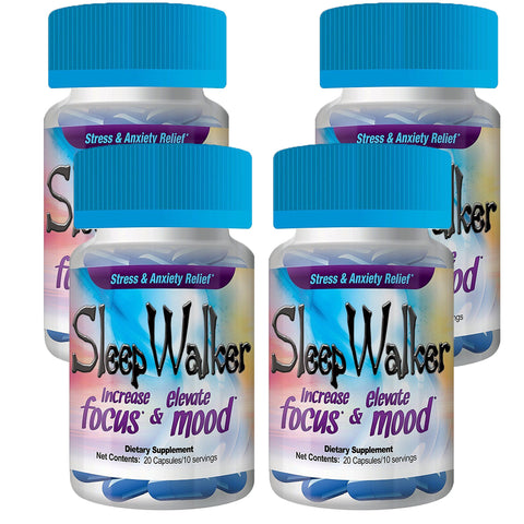 80 Capsules Sleep Walker Mood Enhancer 4 Bottles of 20 Red Dawn Pill Caps - XDeor