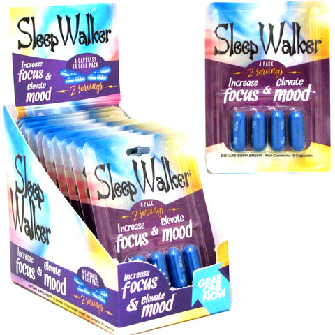 12 Pack 4CT Sleep Walker Capsules Focus & Mood Optimizer - 48 CAPS FULL BOX