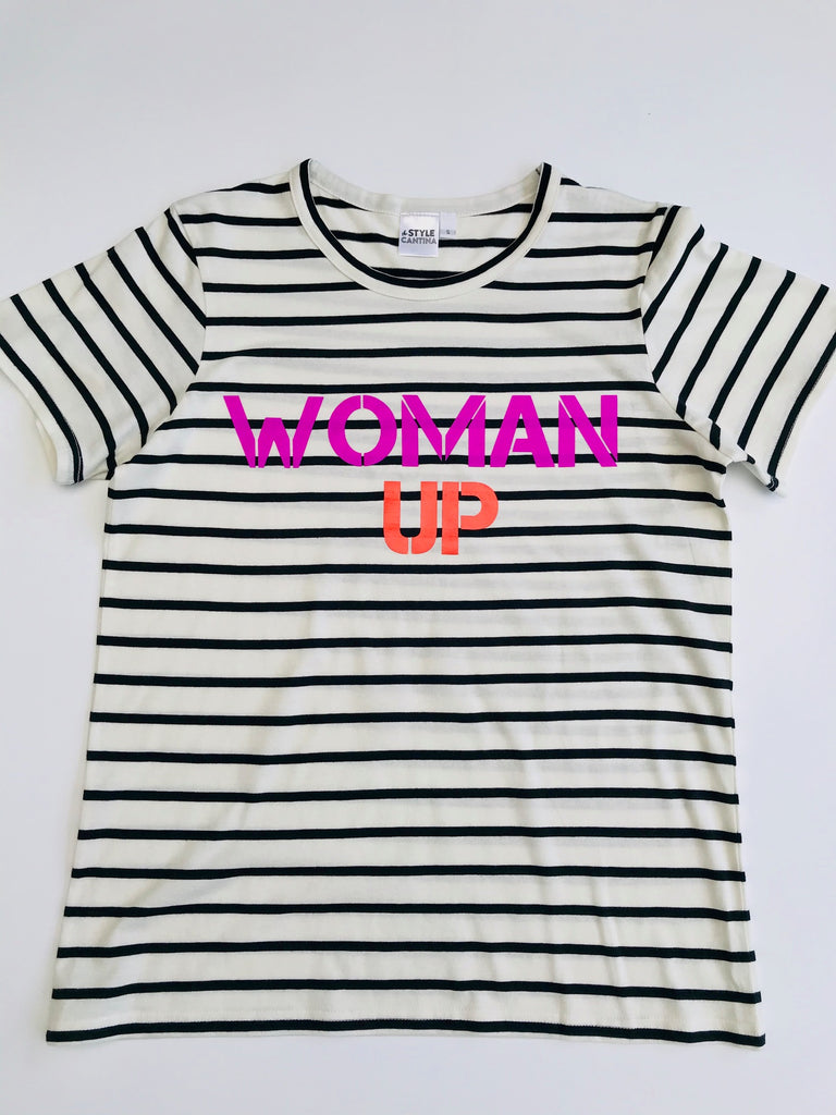WOMAN UP TEE - BLACK AND NATURAL STRIPE