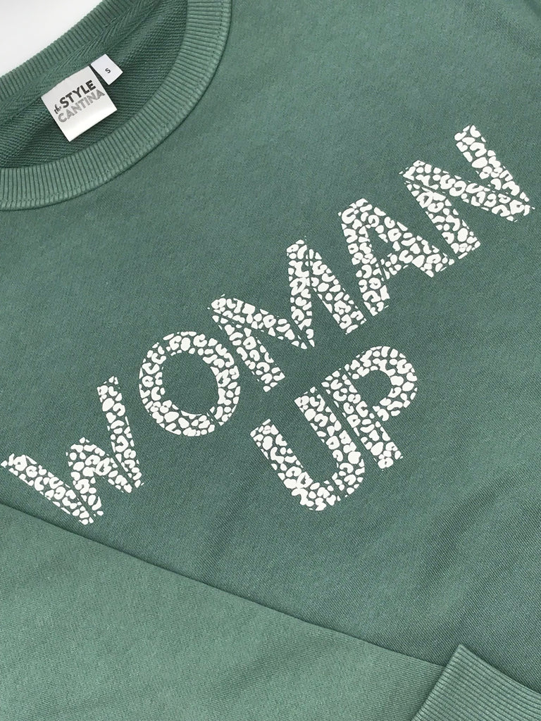 WOMAN UP SWEATER - SAGE GREEN/WHITE LEOPARD