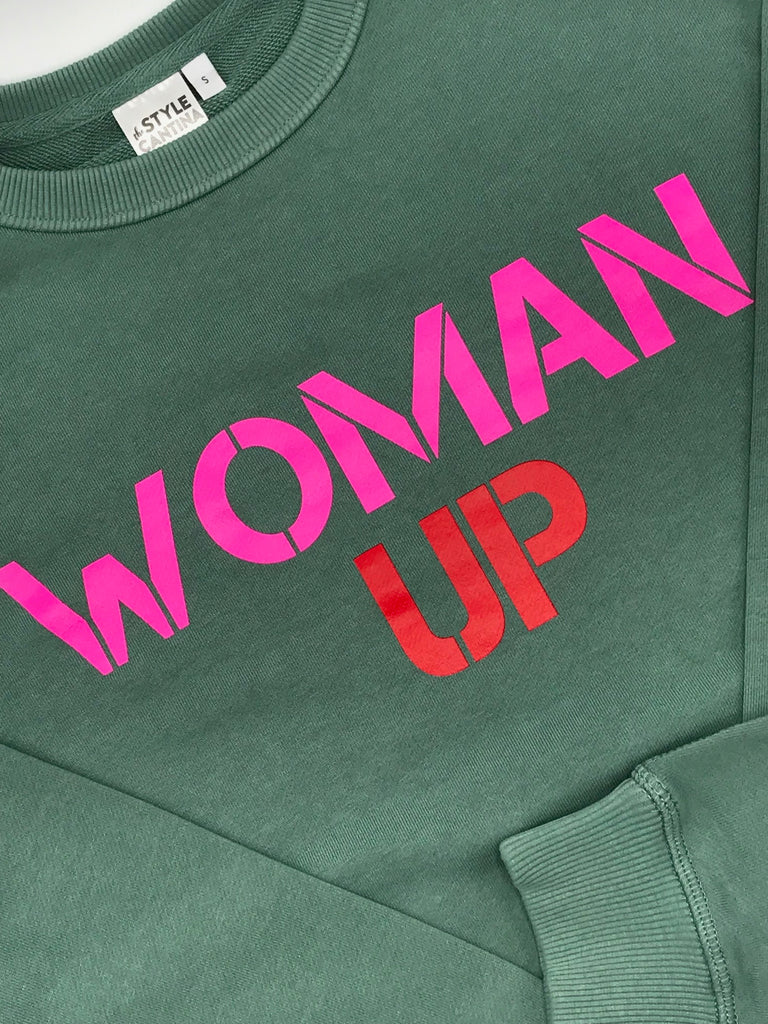 WOMAN UP SWEATER - SAGE GREEN/HOT PINK AND RED