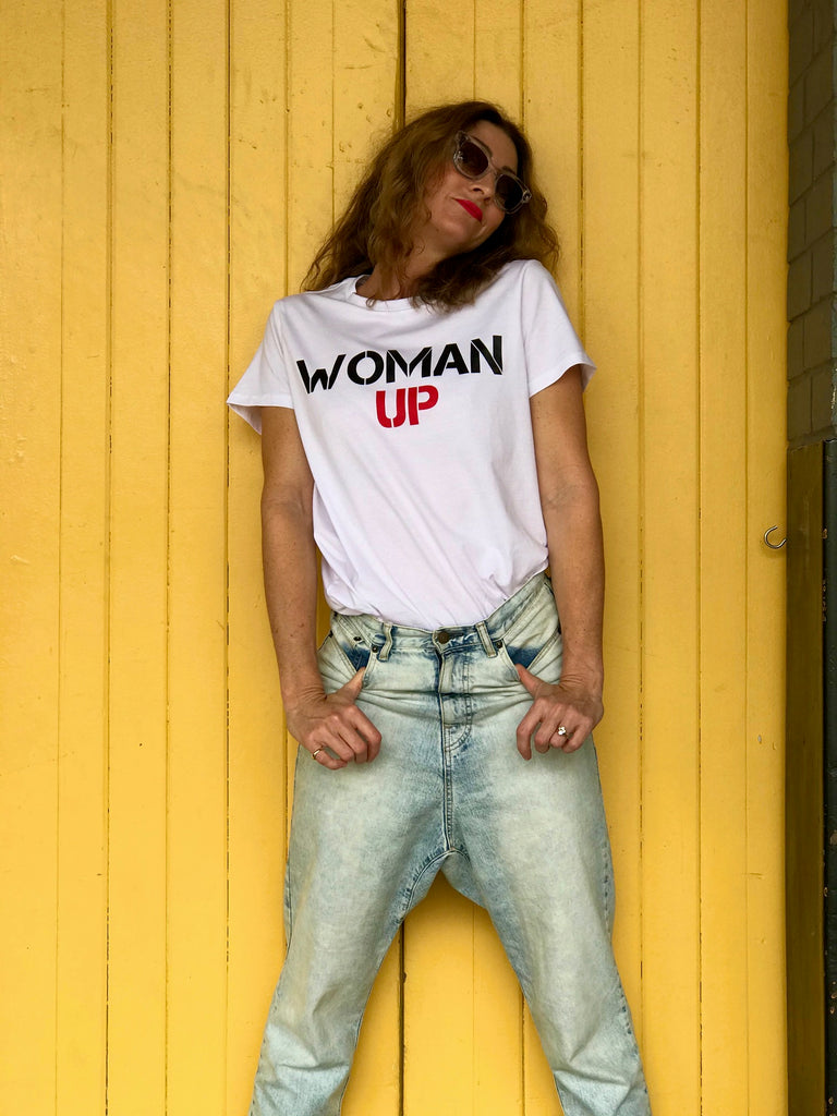 WOMAN UP TEE - WHITE WITH BLACK AND RED PRINT