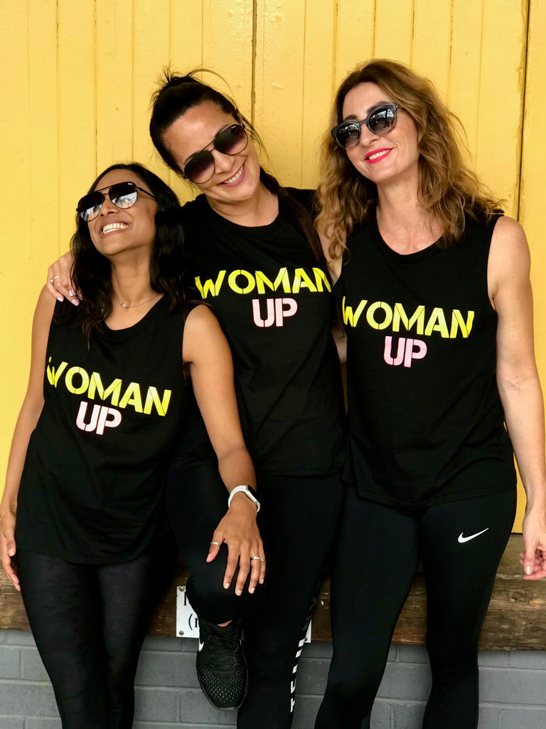 WOMAN UP TANK BLACK, PEACH AND YELLOW PRINT