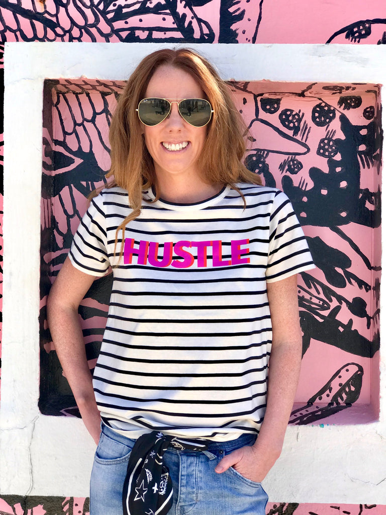 HUSTLE Tee, Black and Natural Stripe/Neon Purple and Orange