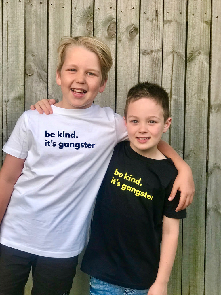 Be Kind. It's Gangster tee KIDS - White