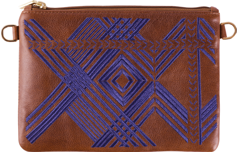 Brown Leather Navy Geo Pouch