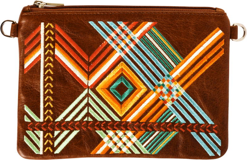 Brown Leather Colour Geo Pouch