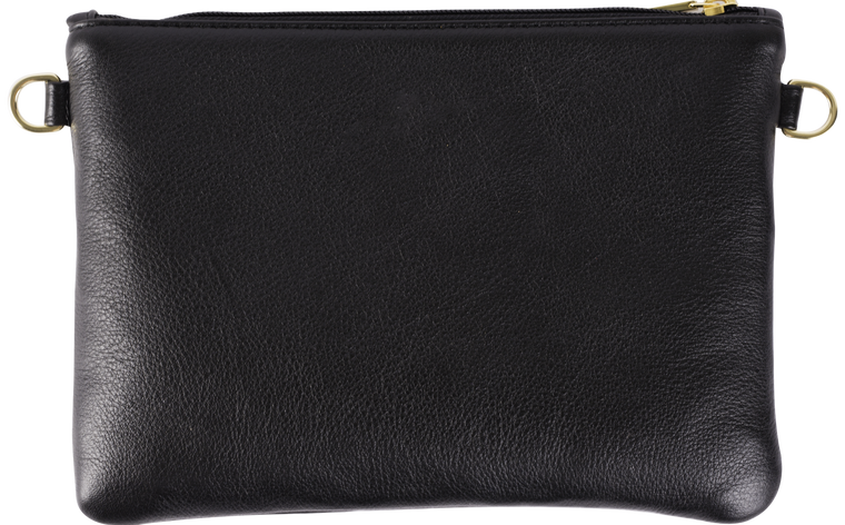 Black Leather Black Geo Pouch