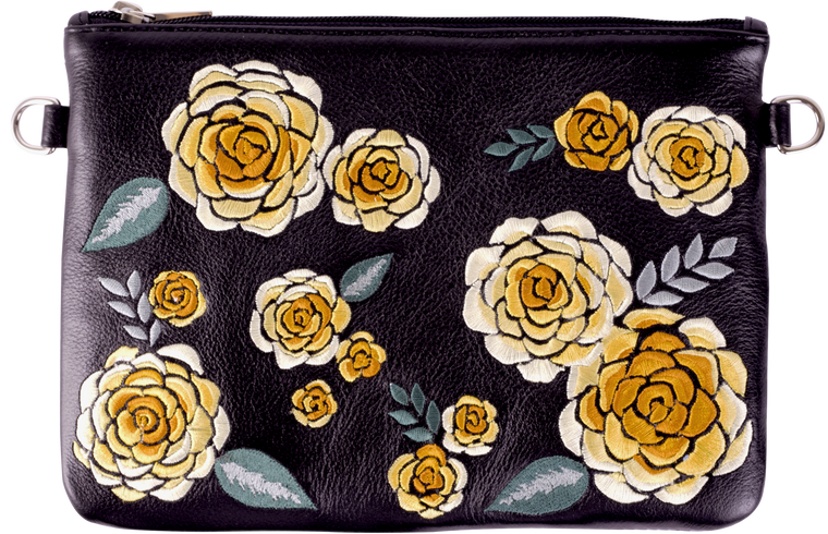 Black Leather Yellow Floral Pouch