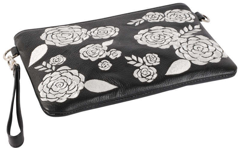 Black Leather White Floral Pouch