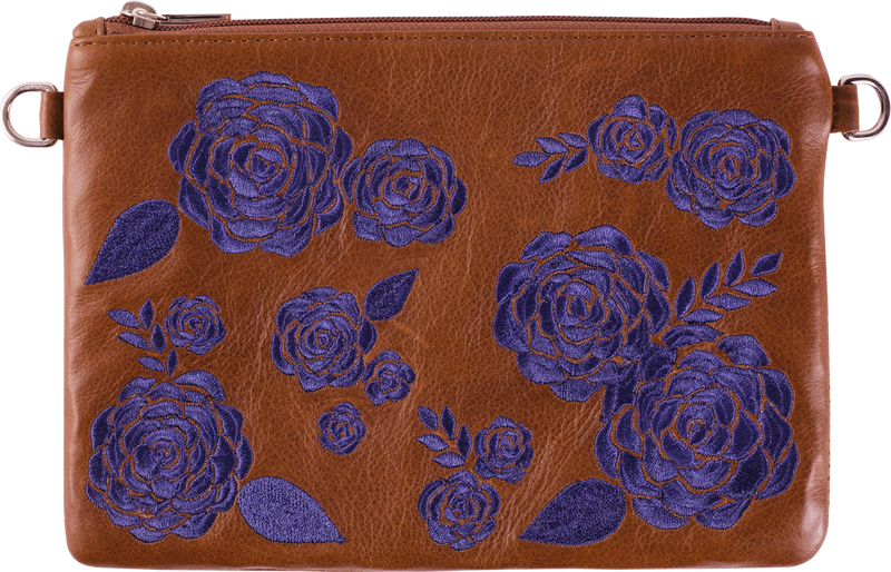 Brown Leather Navy Floral Pouch