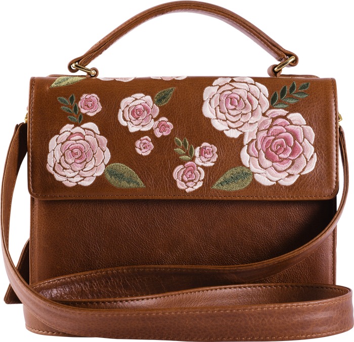 Brown Leather Pink Floral Handle Bag