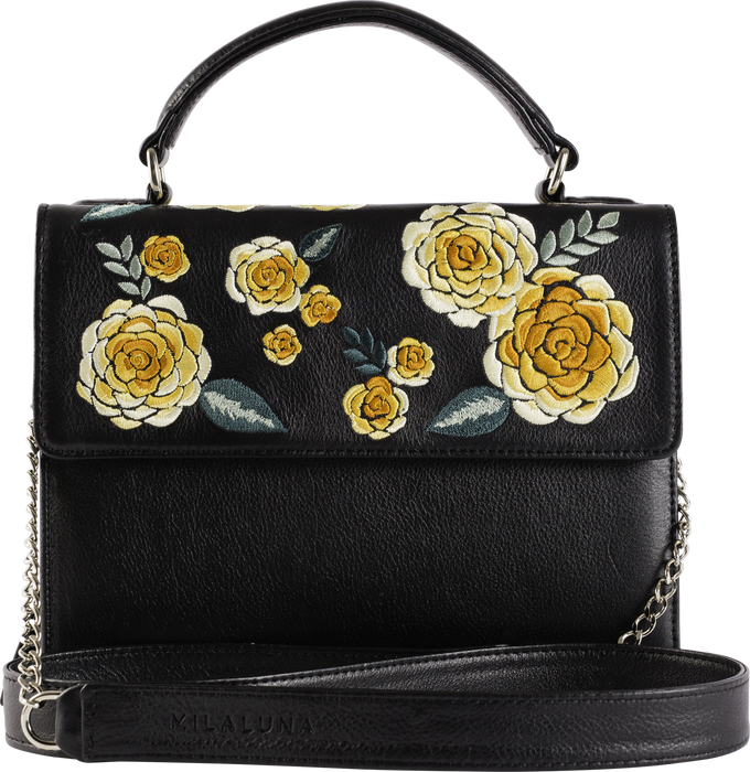 Black Leather Yellow Floral Handle Bag