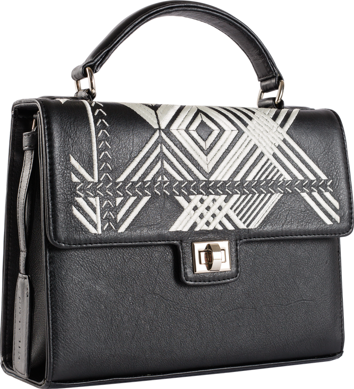 Black leather White Geo Handle Bag