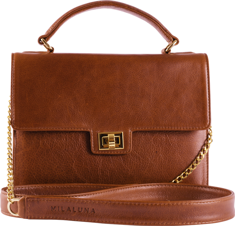 Brown Leather Handle Bag - Gold Lock