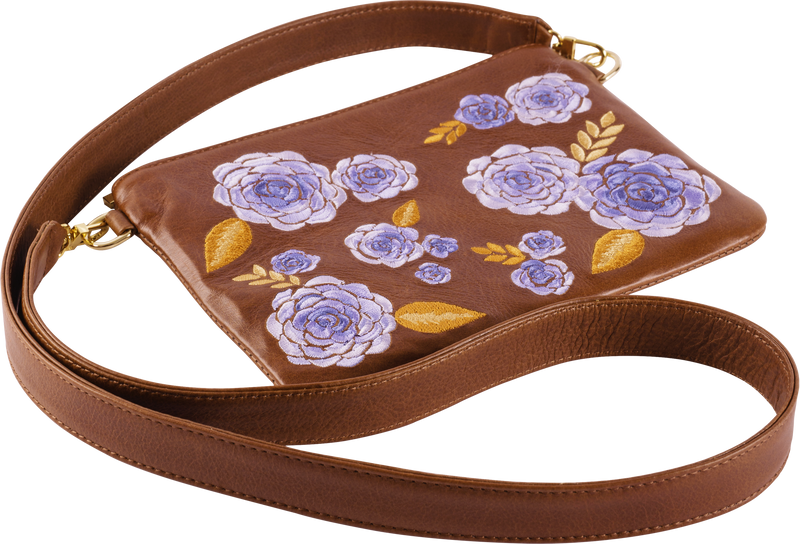 Brown Leather Blue Floral Pouch