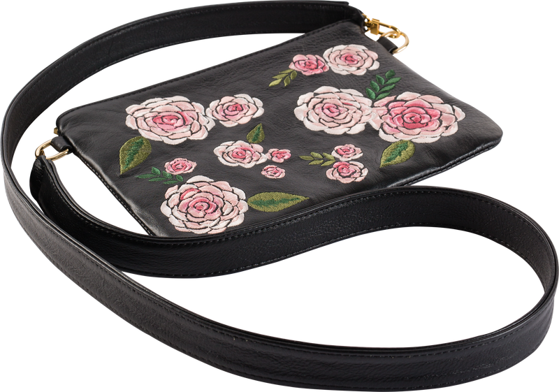 Black Leather Pink Floral Pouch