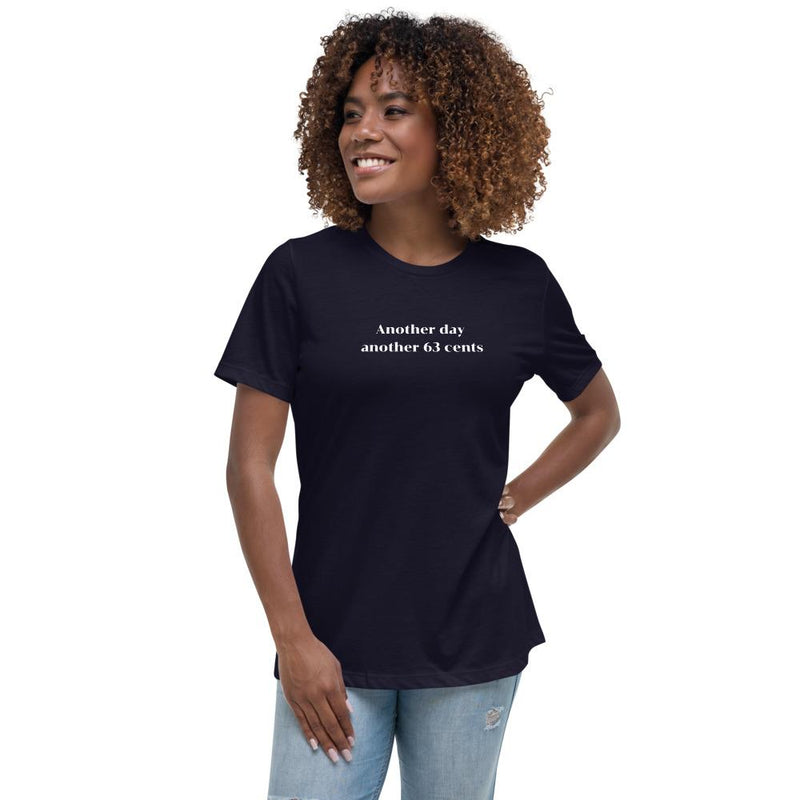 model wearing a cotton mauve t-shirt with the phrase: Another day another 63 cents