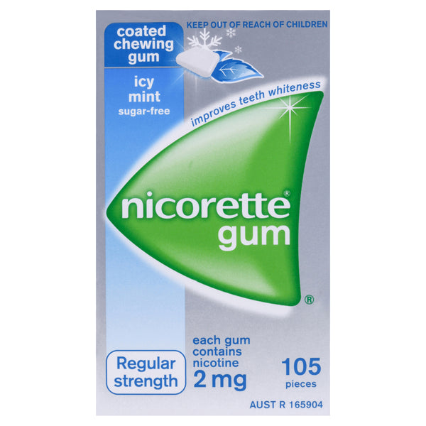 Nicorette Gum Regular Strength Coated Icy Mint 2mg 105 Pack