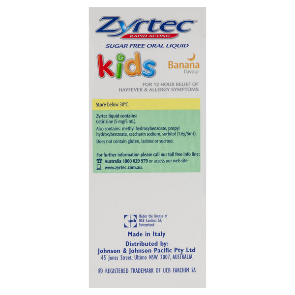 Zyrtec Rapid Acting Kids Banana Flavour Oral Liquid 75mL