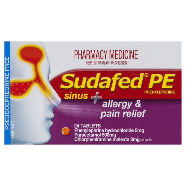 Sudafed PE Sinus+Allergy & Pain Relief 24 Tablets