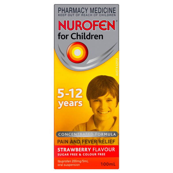 Nurofen for Children 5-12 Years Liquid Pain Relief Strawberry 100ml