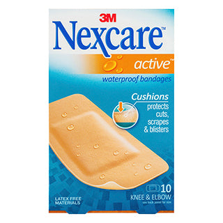Nexcare Active Knee & Elbow Waterproof Bandages - 10 Pack