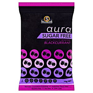 Sugarless Aura Sugar Free Hard-boiled Gourmet Blackcurrant 70G