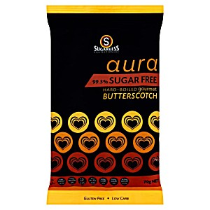 Sugarless Aura 99.5% Sugar Free Hard-boiled Gourmet Butterscotch 70G