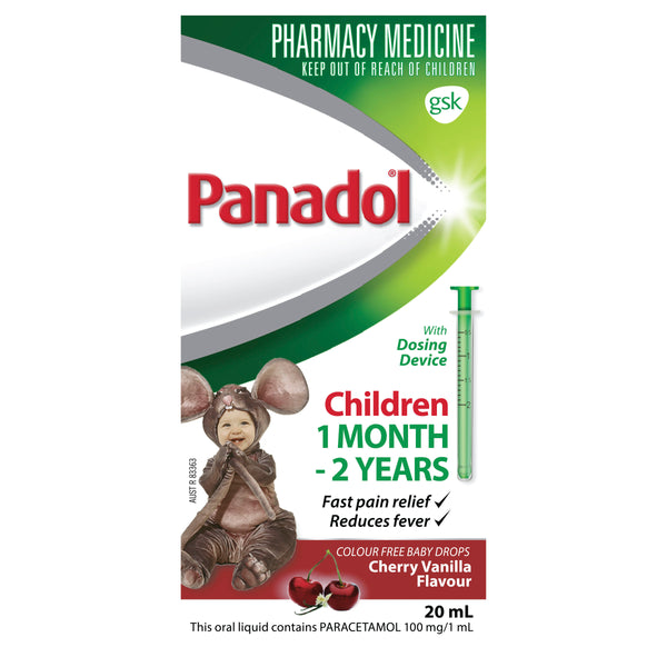 Panadol Drops Colourfree Cherry/Vanilla - 20ml