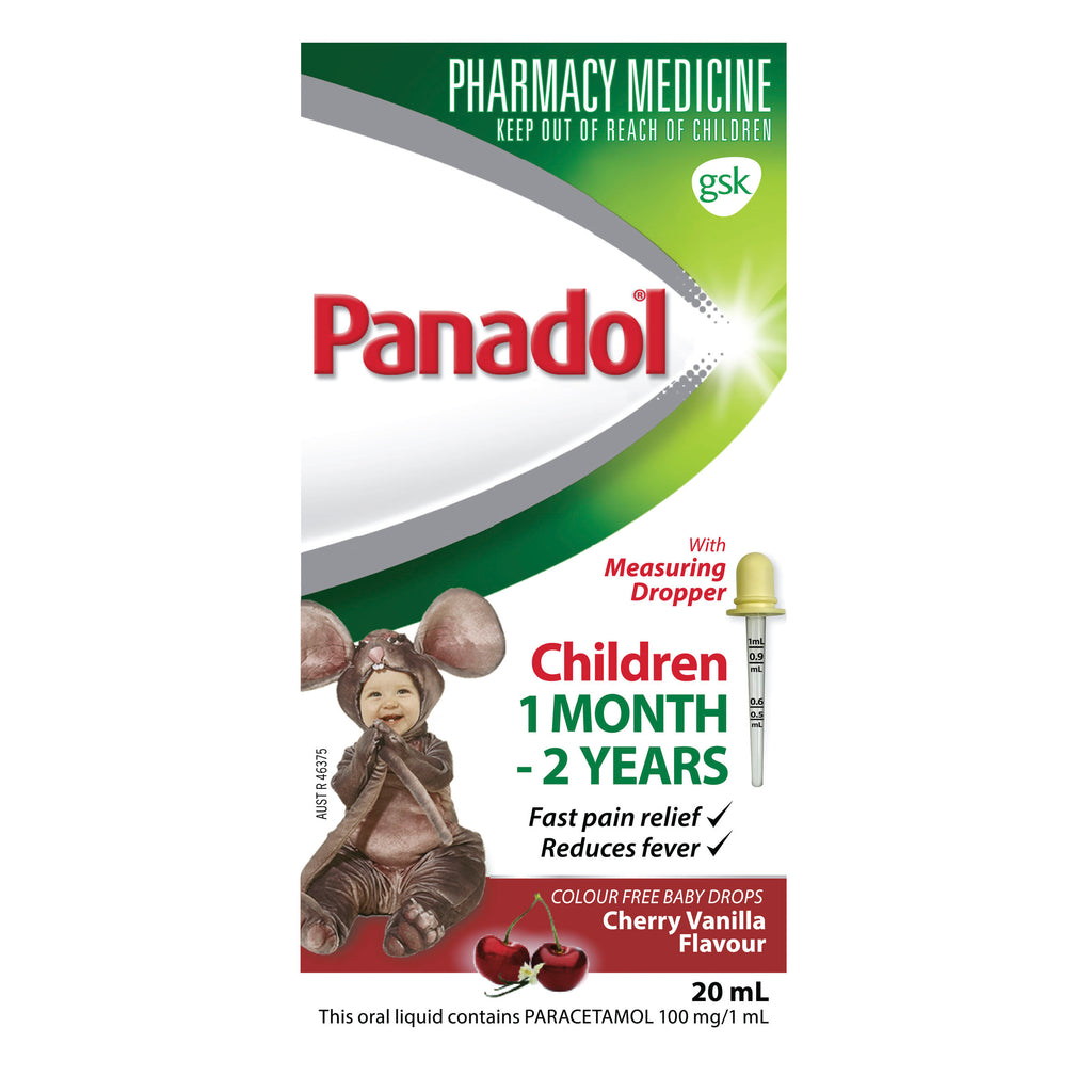 Panadol Children's Colourfree Baby Drops With Oral Dose Device Syringe - 20ml