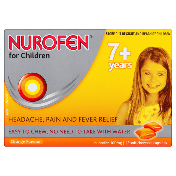 Nurofen For Children 7+ Years Soft Chewable Capsules Pain Relief Orange 12 Pack
