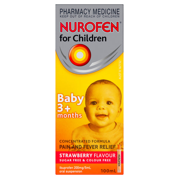 Nurofen For Children 3+ Months Liquid Pain Relief Strawberry 100ml