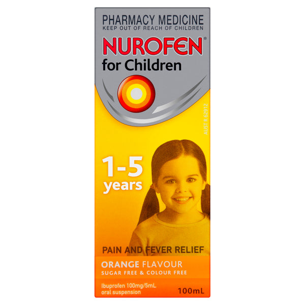 Nurofen for Children Pain and Fever Relief Orange 1 - 5 Years 100mL