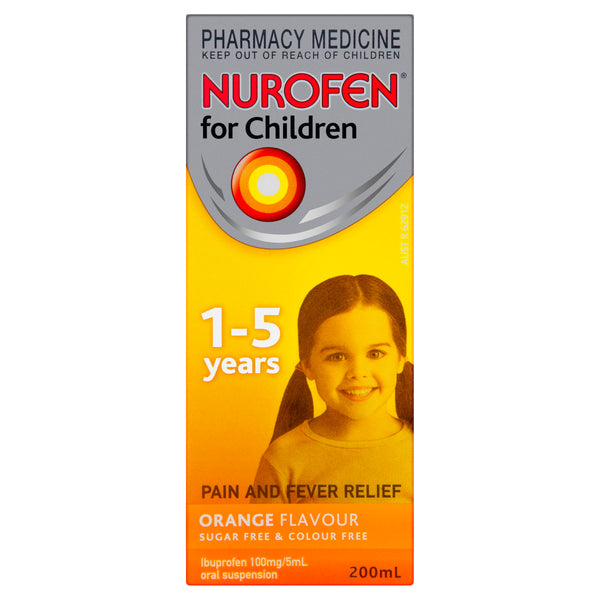 Nurofen for Children Pain and Fever Relief Orange 1 - 5 Years 200mL