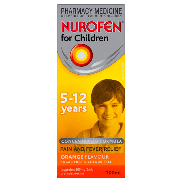 Nurofen For Children 5-12 Years Liquid Pain Relief Orange 100ml